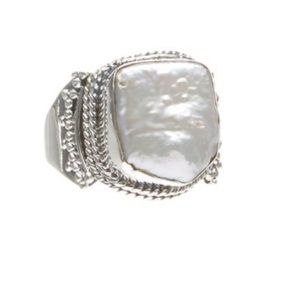 Mother of Pearl Sterling Silver Ring size 9